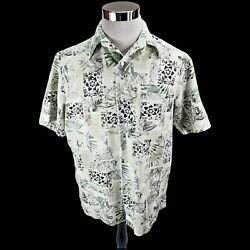 Crazy Horse Shirt Mens Large Short Sleeve Button Up Biege Geo Print Casual