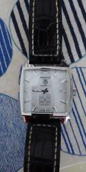 Auth Tag Heuer Watch Monaco White Shell Automatic Case37mm Crocodile Belt F/s