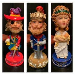 Set Of 12 New Vintage Mardi Gras Bobbleheads In Container