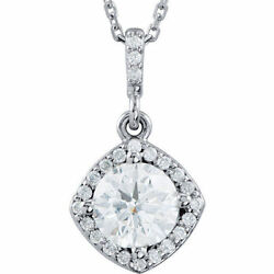 Diamant Halo-styled 18 Collier En 14k Or Blanc 1/2 Ct. Tw