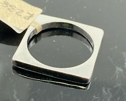 18k Ring Solid Gold Elegant Simple Square Shape Ladies Band R2386z