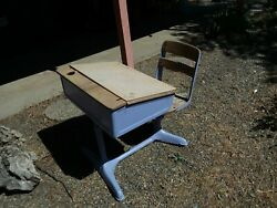 Vintage Flip-top Metal School Desk W/ Attatched Chair Educational Child Collect