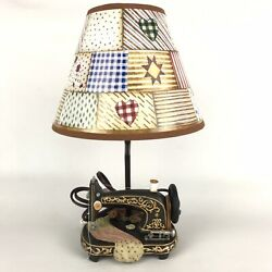 Vintage Sewing Machine Table Lamp Patchwork Shade By Collections Etc