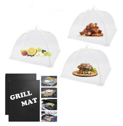 3pack White Food Covers For Outside And 2pack Non Stick Black Bbq Grill Mat