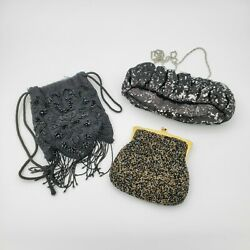 3 Clutch Bags Lot Beaded and Sequin Theatrical Clothing Stage Props $19.55