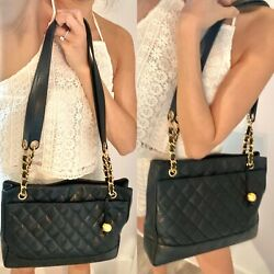 Auth CHANEL Quilted Matelasse Lambskin Chain Tote $1399.00