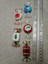 Candy Glass Red White Swirled Mini Ornament Vintage Decoration Lot Of 5