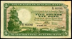 🔸south Africa 5 Rand 1936 P-86 G-vg F-090🔸