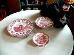 13pc Johnson Brothers Old Britain Castles Pink Saucer Salad And Dinner Plates