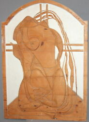 Vintage Hand Carved Wood Abstract Modernist Wall Hanging Art Work