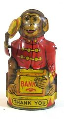 Working Vintage J. Chein Tin Lithographed Mechanical Monkey Bank Tips His Hat