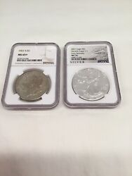 1921 S Morgan Ngc Ms65+ / 2021 P Ase T-1 Ngc Ms70 100 Anniversary Year Bookends