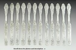12 Early American C1840 Silver Knives W/ Lovely Engraved Blades