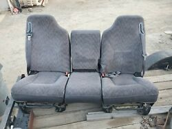 98 99 00 02 01 Dodge Ram 1500 2500 3500 Front Seat With Jump Seat Console.
