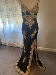 Cache Beaded Sexy black and gold Evening Gown size 10 $175.00