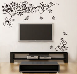 Butterfly Floral Vine Flower Vinyl Wall Art Stickers Wall Decals Wall Graphics