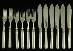 12pc Antique C1900 Chinese Export Silver Fish Set Forks Knives