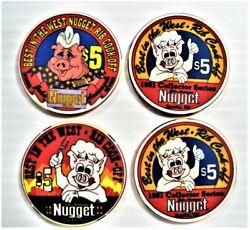 Nugget Casino Sparks Nv 4- 5 Chips Best In The West- Rib Cook-off 1991/92/93