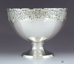 Antique 1924 English Sterling Silver Pierced Footed Bowl W/ Floral Design