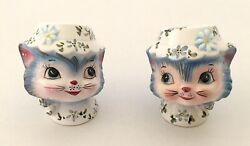 Vintage Lefton Miss Priss Salt And Pepper Shakers / Blue Kitty