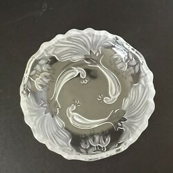 """Mikasa Triple Frosted Peacocks Crystal Trinket Candy Dish 6 3/4"""" X 1.5"""" 2 Piece"""