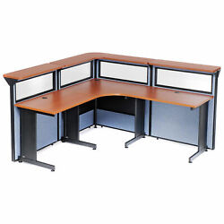 80w X 80d X 44h L-shaped Reception Station With Window Cherry Counter/blue