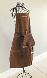 Williams-sonoma Brown Leather Apron For Grilling And Bbq With Matching Glove