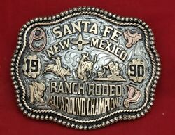 Rodeo Trophy Champion Buckle☆1990☆santa Fe New Mexico Bronc Riding Vintage 502