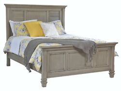 Amish Solid Wood Coastal Beach House Panel Bed Louvre Shutter King Queen Full