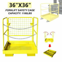 36x36 Inch Forklift Safety Cage Heavy Duty Steel Collapsible Lift Aerial Basket