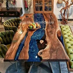 Handmade Resin Blue River Dining Collectible Table Top Epoxy Acacia Table Décors