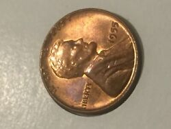 1955 Lincoln Wheat Penny Cent - Poor Mans Double Die Bu Red Brown