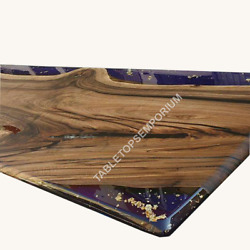 Custom Order Hand Crafted Live Edge Bar Counter With Resin River Dining Table