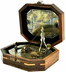 Antique Vintage Style Lot Of 20 Pcs Brass 4 Sundial Compass With Wooden Box