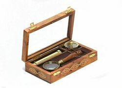 Brass Compass Telescope And Magnifying Glass With Wooden Box Lot Of 20 Pcs
