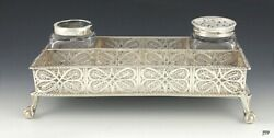 1758 English Sterling Filigree Inkwell Desk Stand