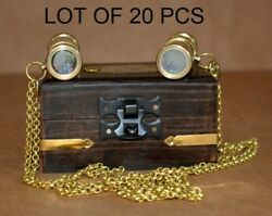 Lot Of 2 Pcs Vintage Brass 2 Kaleidoscope With Brass Chain With Wooden Box Gift