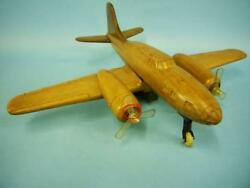 Vintage Wooden Mold Of Tinplate Toy Propeller Airplane Retro From Japan F/s