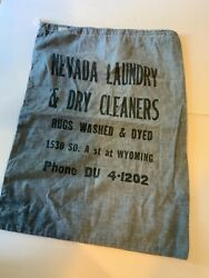 Vintage Nevada Laundry And Dry Cleaners Bag Chambray Colored