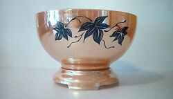Anchor Hocking Fire King Peach Lustre Luster Floral Leaf Punch Bowl 1a