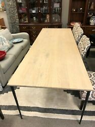 Crate And Barrel Long Wood Top Dining Table