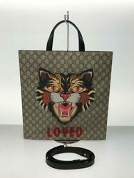 Pvc 450950 Angry Cat Pvc Brown Fashion Tote Bag 329 From Japan