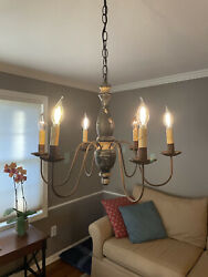 Rustic Farmhouse Chandelier, Unique Colonial Early-american Antique Style