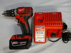 Milwaukee M18 Compact 1/2 Drill Driver 2602-20 And 5.0 Ah Battery And Charger