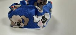 Dog Collar Cover Scrunchie Blue Puppies XS