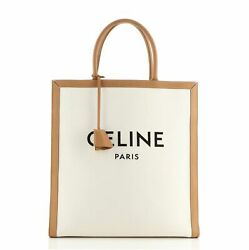Celine Vertical Cabas Tote Canvas With Leather Large