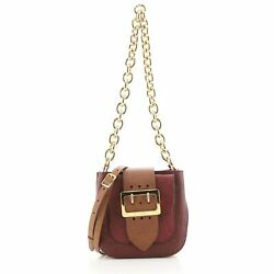The Belt Square Buckle Bag Leather And House Check Canvas Mini