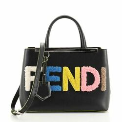 Fendi 2jours Logo Bag Shearling And Leather Petite