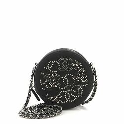Round Clutch With Chain Cc Studded Canvas