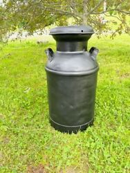 Super 10 Gallon Black Milk Can Very Clean Inside And Out Country / Cowboy /dec